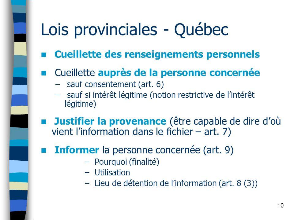 10 Lois provinciales - Québec Cueillette des renseignements personnels Cueillette auprès de la personne concernée – sauf consentement (art. 6) – sauf