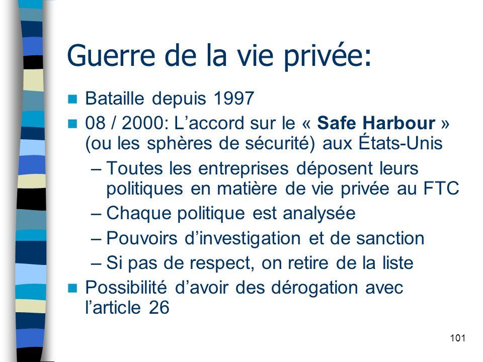 101 Guerre de la vie privée: Bataille depuis 1997 08 / 2000: Laccord sur le « Safe Harbour » (ou les sphères de sécurité) aux États-Unis –Toutes les e