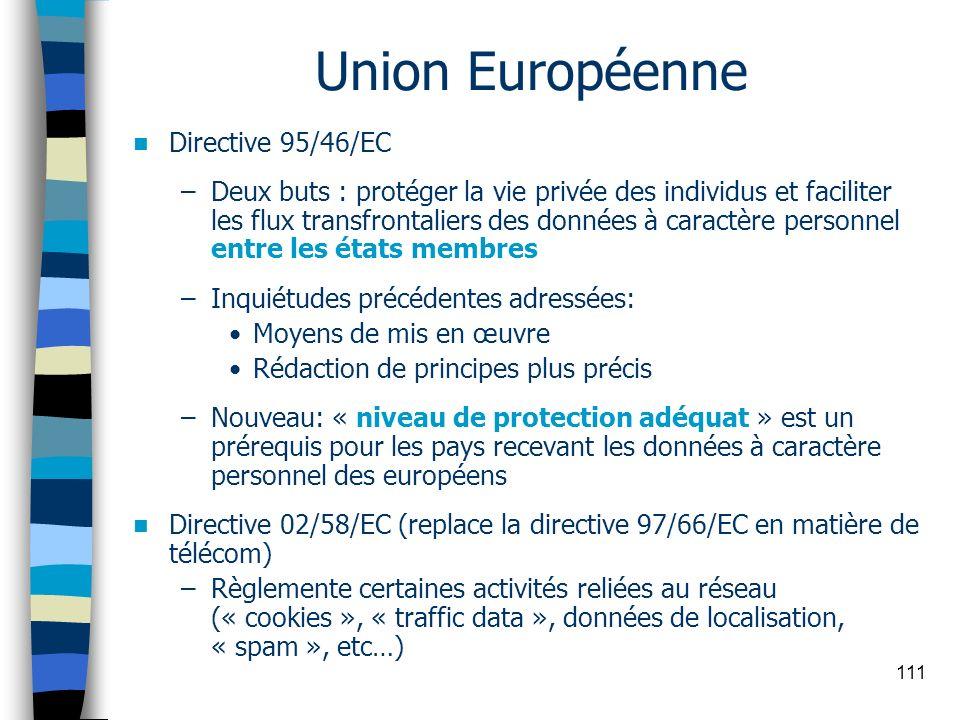 111 Union Européenne Directive 95/46/EC –Deux buts : protéger la vie privée des individus et faciliter les flux transfrontaliers des données à caractè