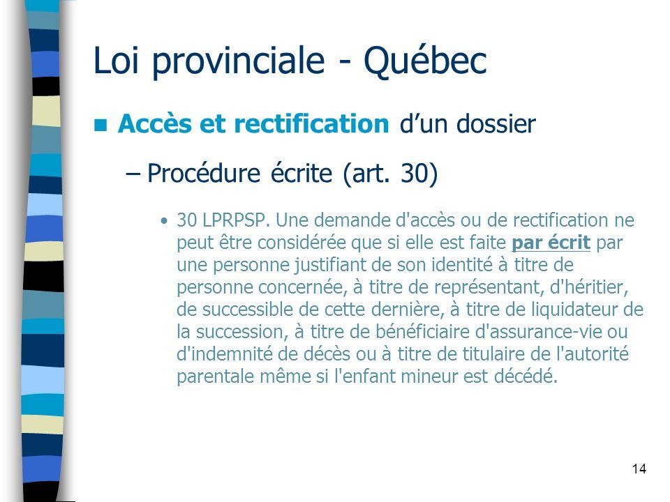 14 Loi provinciale - Québec Accès et rectification dun dossier –Procédure écrite (art. 30) 30 LPRPSP. Une demande d'accès ou de rectification ne peut