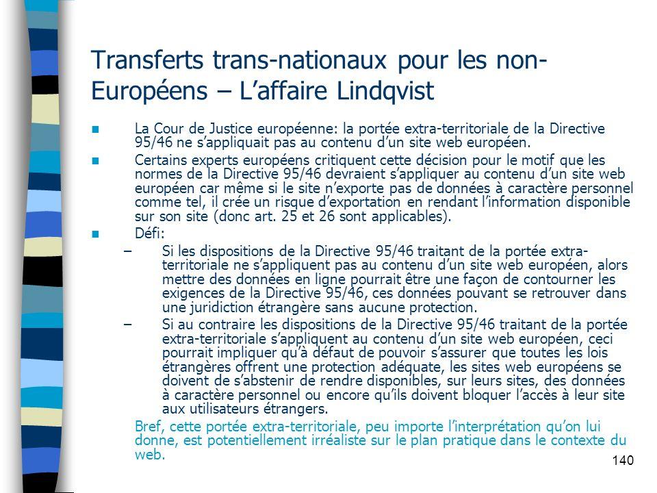 140 Transferts trans-nationaux pour les non- Européens – Laffaire Lindqvist La Cour de Justice européenne: la portée extra-territoriale de la Directiv