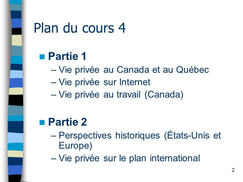 2 Plan du cours 4 Partie 1 –Vie privée au Canada et au Québec –Vie privée sur Internet –Vie privée au travail (Canada) Partie 2 –Perspectives historiq