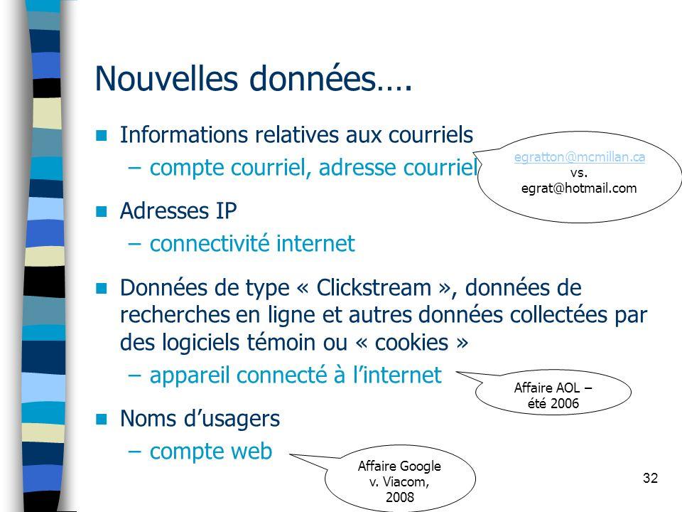 32 Nouvelles données…. Informations relatives aux courriels –compte courriel, adresse courriel Adresses IP –connectivité internet Données de type « Cl