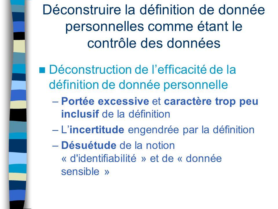 Déconstruire la définition de donnée personnelles comme étant le contrôle des données Déconstruction de lefficacité de la définition de donnée personn