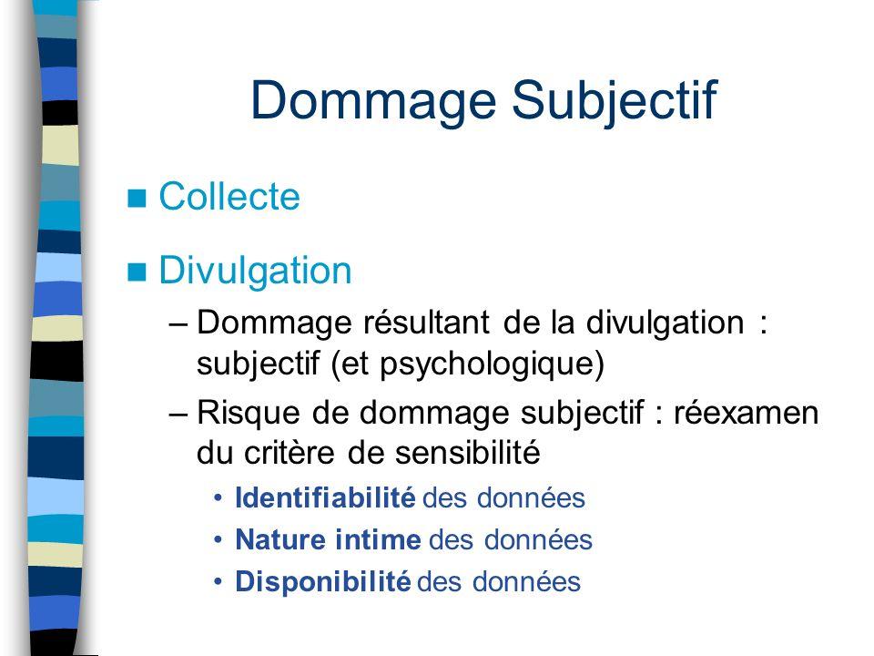 Dommage Subjectif Collecte Divulgation –Dommage résultant de la divulgation : subjectif (et psychologique) –Risque de dommage subjectif : réexamen du