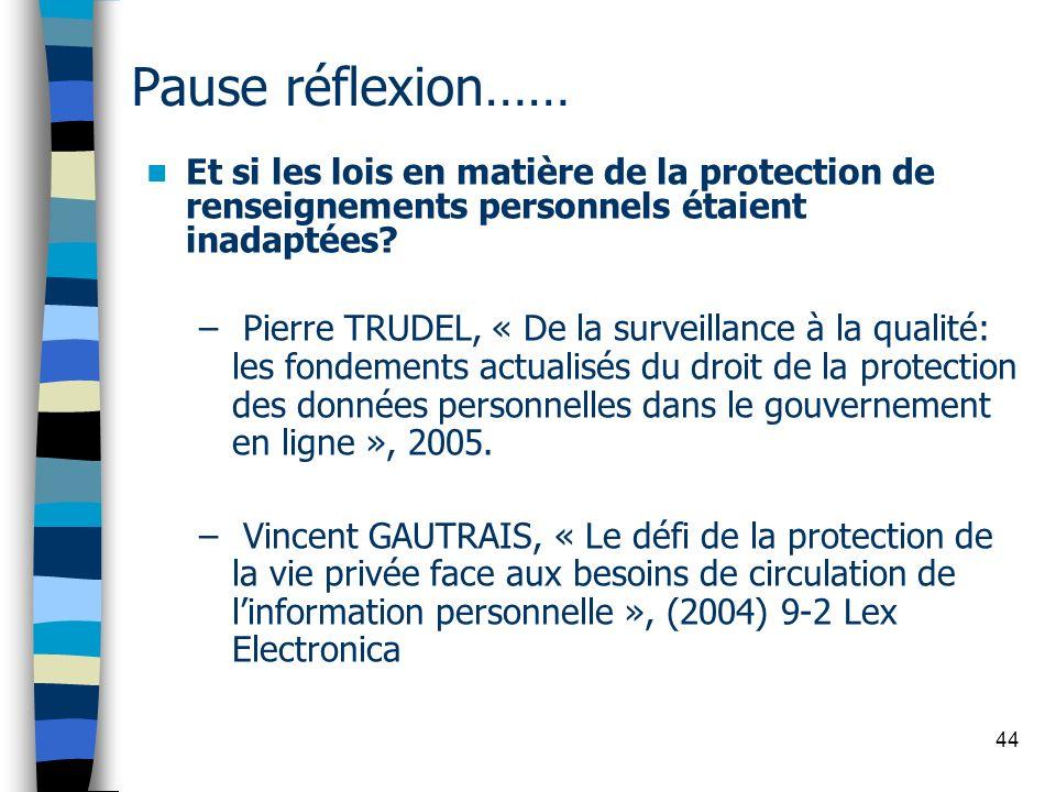 44 Pause réflexion…… Et si les lois en matière de la protection de renseignements personnels étaient inadaptées? – Pierre TRUDEL, « De la surveillance