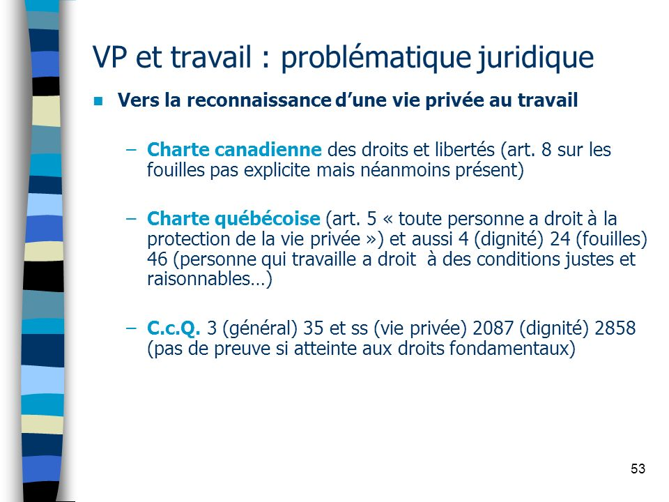 53 VP et travail : problématique juridique Vers la reconnaissance dune vie privée au travail –Charte canadienne des droits et libertés (art. 8 sur les
