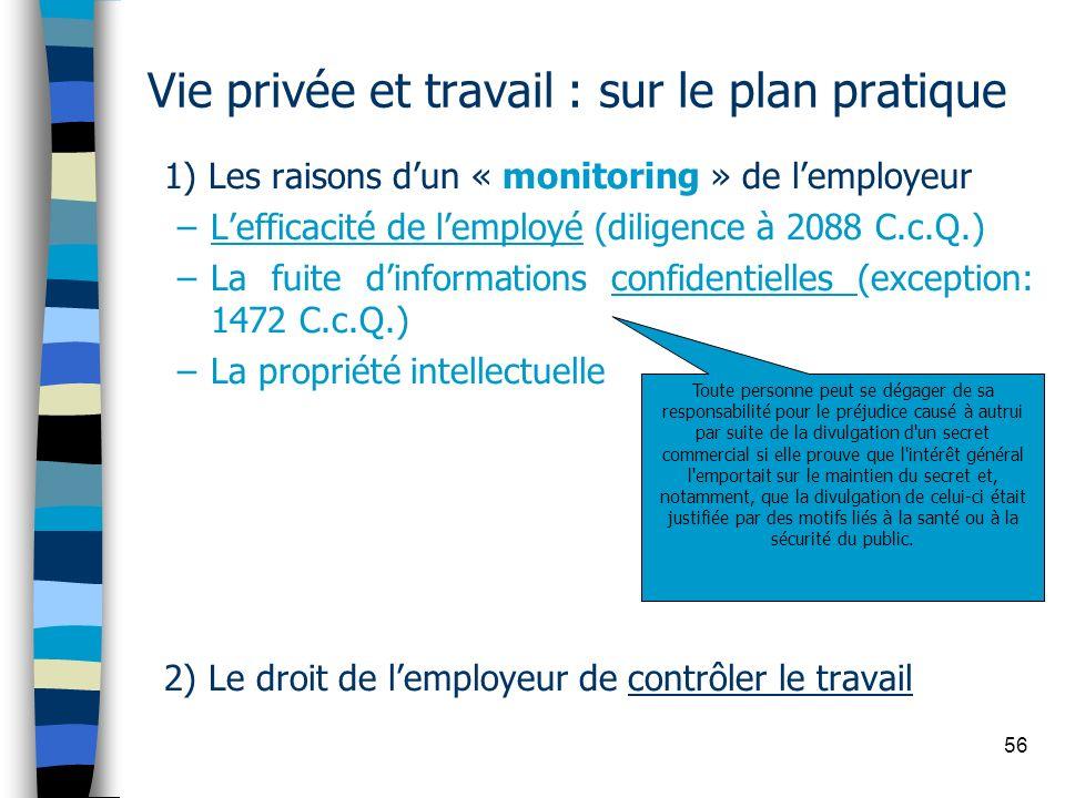 56 Vie privée et travail : sur le plan pratique 1) Les raisons dun « monitoring » de lemployeur –Lefficacité de lemployé (diligence à 2088 C.c.Q.) –La