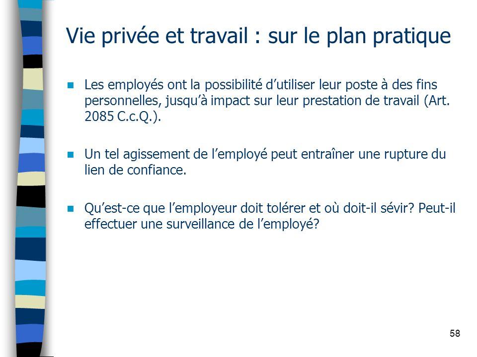 58 Vie privée et travail : sur le plan pratique Les employés ont la possibilité dutiliser leur poste à des fins personnelles, jusquà impact sur leur p