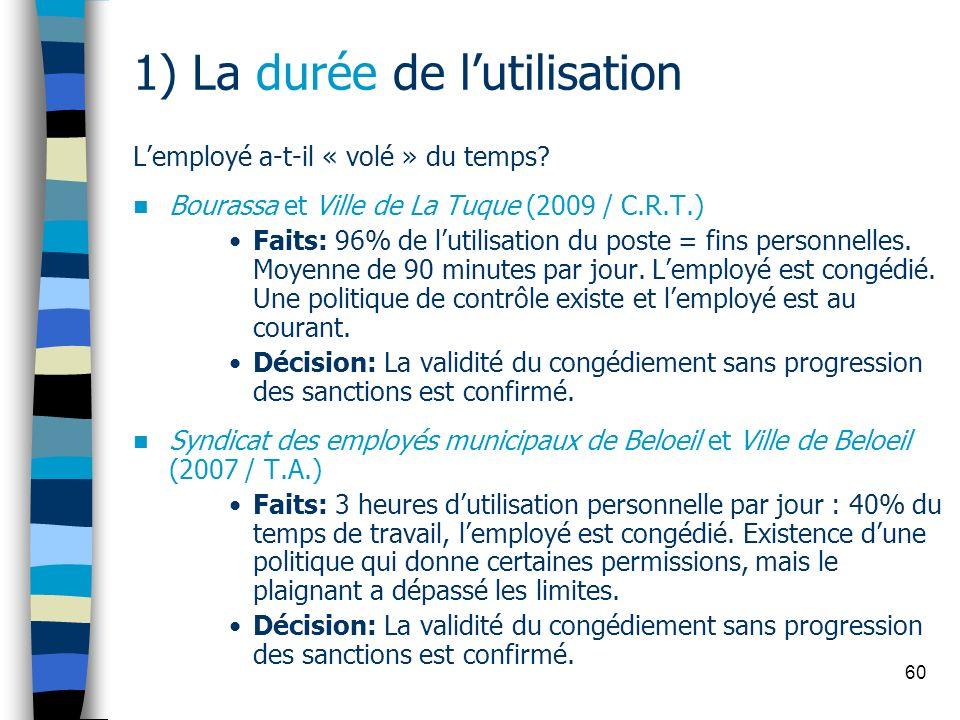 60 1) La durée de lutilisation Lemployé a-t-il « volé » du temps? Bourassa et Ville de La Tuque (2009 / C.R.T.) Faits: 96% de lutilisation du poste =