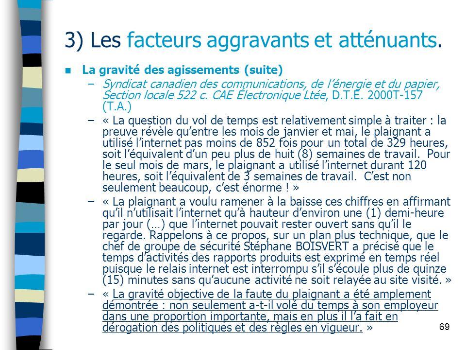 69 3) Les facteurs aggravants et atténuants. La gravité des agissements (suite) –Syndicat canadien des communications, de lénergie et du papier, Secti