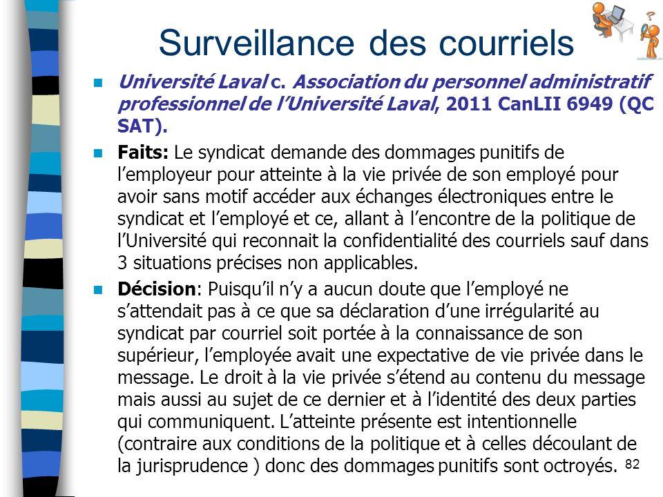 Surveillance des courriels Université Laval c. Association du personnel administratif professionnel de lUniversité Laval, 2011 CanLII 6949 (QC SAT). F