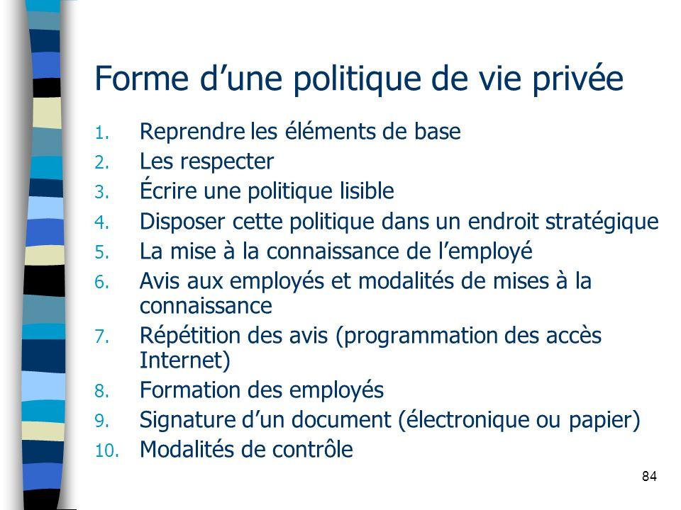 84 Forme dune politique de vie privée 1. Reprendre les éléments de base 2. Les respecter 3. Écrire une politique lisible 4. Disposer cette politique d