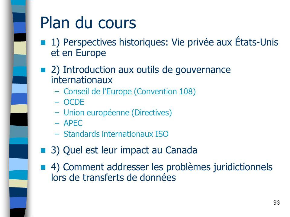 93 Plan du cours 1) Perspectives historiques: Vie privée aux États-Unis et en Europe 2) Introduction aux outils de gouvernance internationaux –Conseil