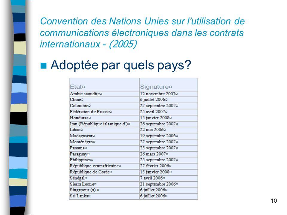 10 Convention des Nations Unies sur lutilisation de communications électroniques dans les contrats internationaux - (2005) Adoptée par quels pays?