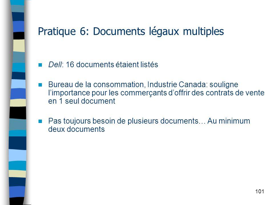 101 Pratique 6: Documents légaux multiples Dell: 16 documents étaient listés Bureau de la consommation, Industrie Canada: souligne limportance pour le