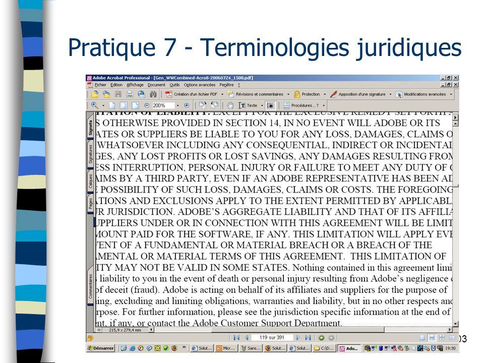 103 Pratique 7 - Terminologies juridiques