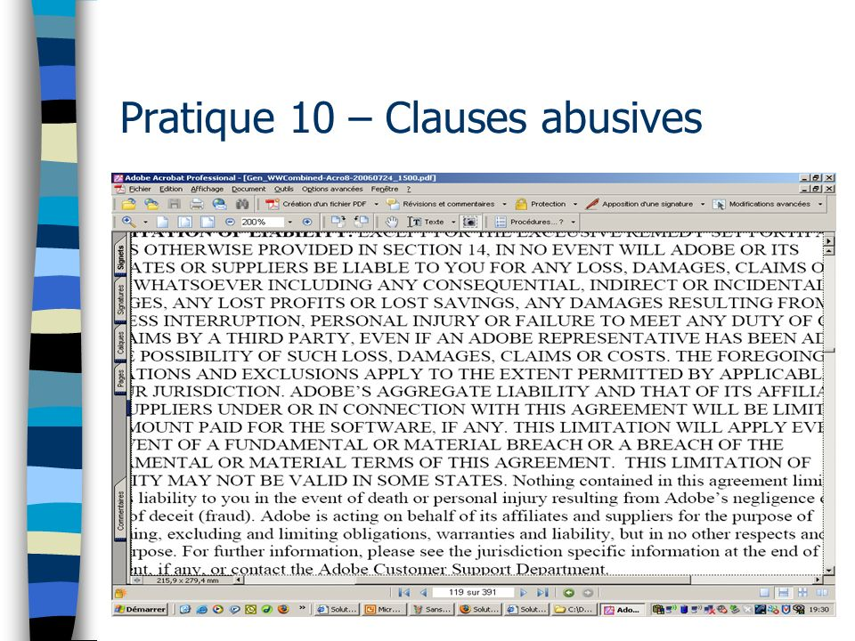 109 Pratique 10 – Clauses abusives