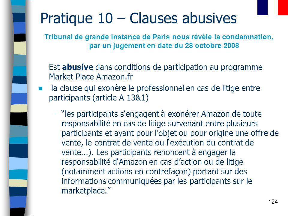 124 Pratique 10 – Clauses abusives Tribunal de grande instance de Paris nous révèle la condamnation, par un jugement en date du 28 octobre 2008 Est ab