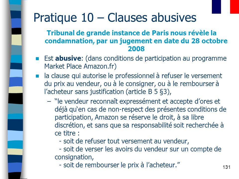 131 Pratique 10 – Clauses abusives Tribunal de grande instance de Paris nous révèle la condamnation, par un jugement en date du 28 octobre 2008 Est ab