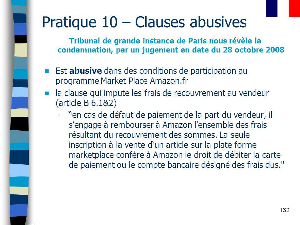 132 Pratique 10 – Clauses abusives Tribunal de grande instance de Paris nous révèle la condamnation, par un jugement en date du 28 octobre 2008 Est ab