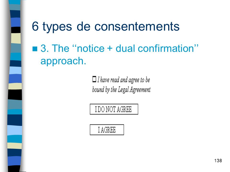 138 6 types de consentements 3. The notice + dual confirmation approach.