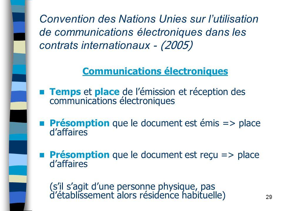 29 Convention des Nations Unies sur lutilisation de communications électroniques dans les contrats internationaux - (2005) Communications électronique