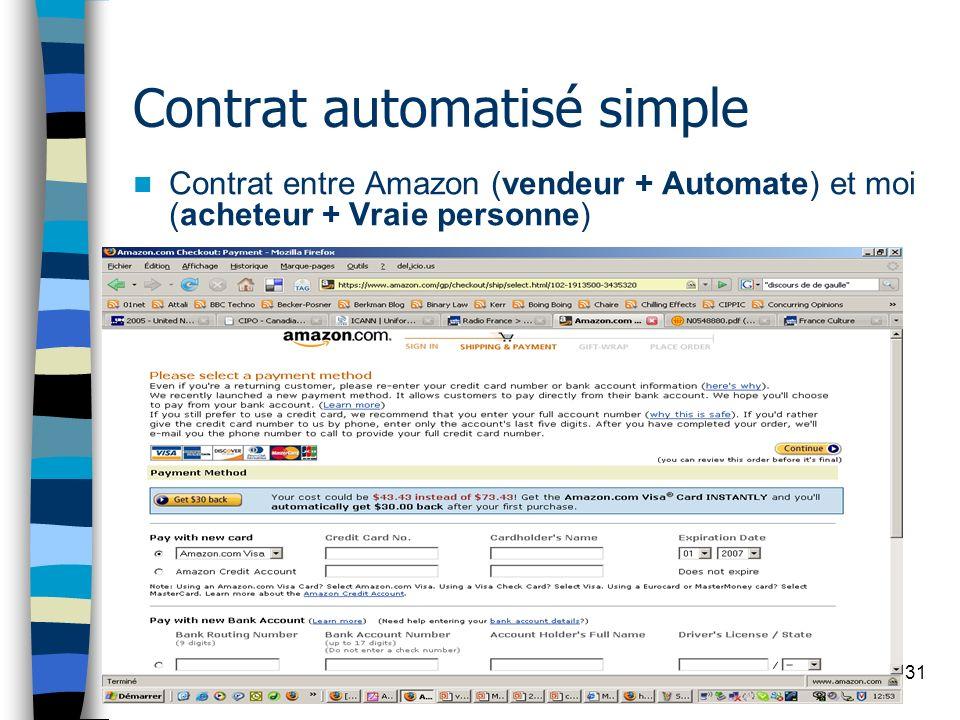 31 Contrat automatisé simple Contrat entre Amazon (vendeur + Automate) et moi (acheteur + Vraie personne)
