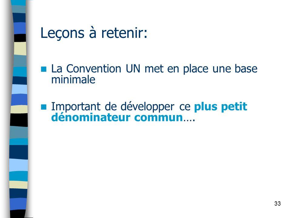 33 Leçons à retenir: La Convention UN met en place une base minimale Important de développer ce plus petit dénominateur commun….