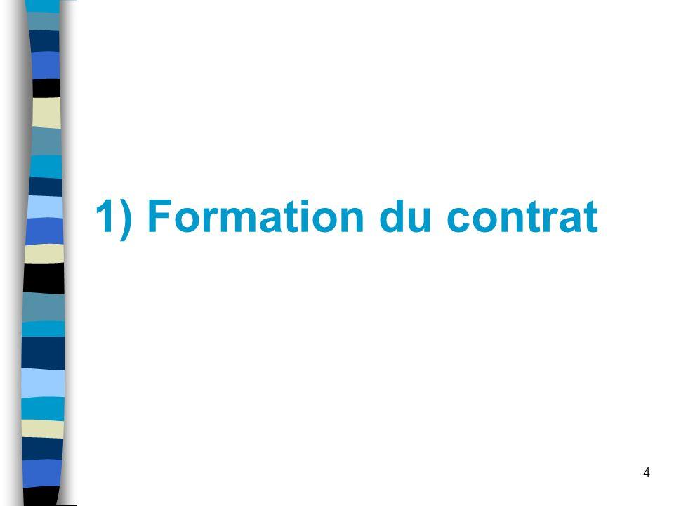 4 1) Formation du contrat