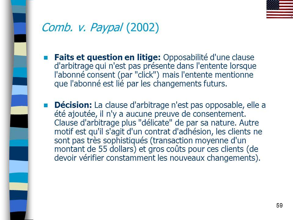59 Comb. v. Paypal (2002) Faits et question en litige: Opposabilité d'une clause d'arbitrage qui n'est pas présente dans l'entente lorsque l'abonné co