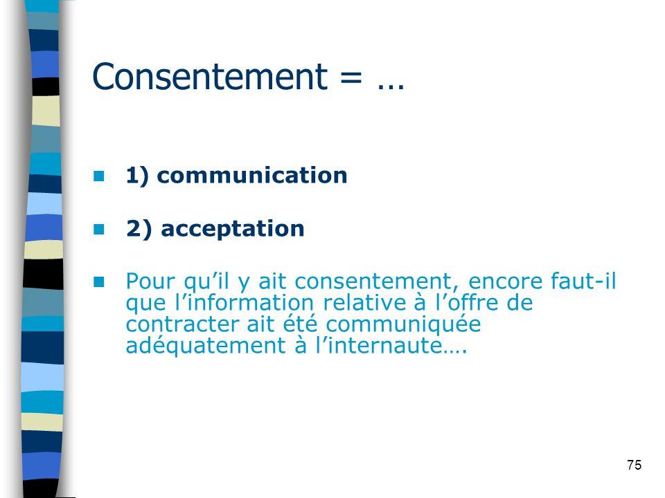 75 Consentement = … 1) communication 2) acceptation Pour quil y ait consentement, encore faut-il que linformation relative à loffre de contracter ait