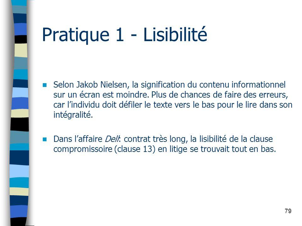79 Pratique 1 - Lisibilité Selon Jakob Nielsen, la signification du contenu informationnel sur un écran est moindre. Plus de chances de faire des erre