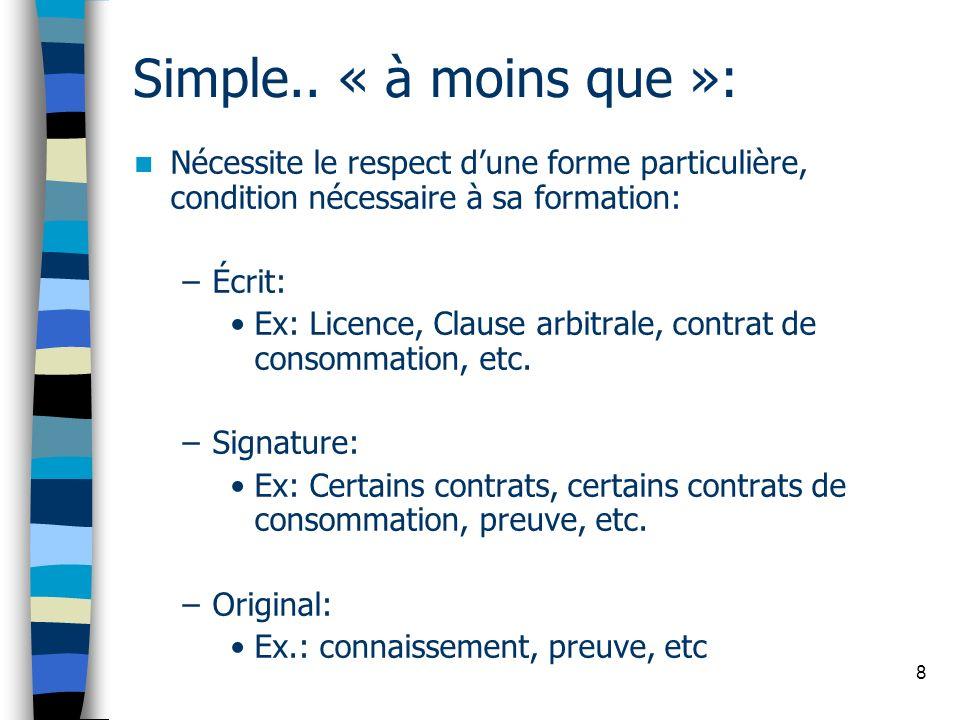 8 Simple.. « à moins que »: Nécessite le respect dune forme particulière, condition nécessaire à sa formation: –Écrit: Ex: Licence, Clause arbitrale,