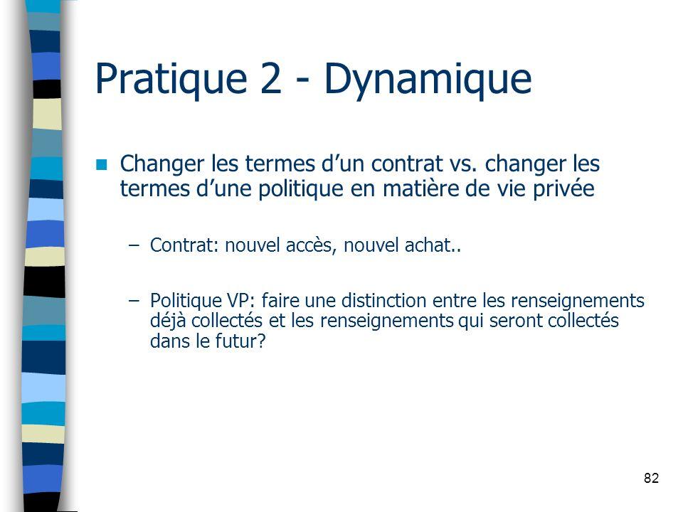 82 Pratique 2 - Dynamique Changer les termes dun contrat vs. changer les termes dune politique en matière de vie privée –Contrat: nouvel accès, nouvel