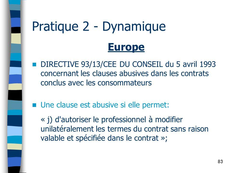 83 Pratique 2 - Dynamique Europe DIRECTIVE 93/13/CEE DU CONSEIL du 5 avril 1993 concernant les clauses abusives dans les contrats conclus avec les con