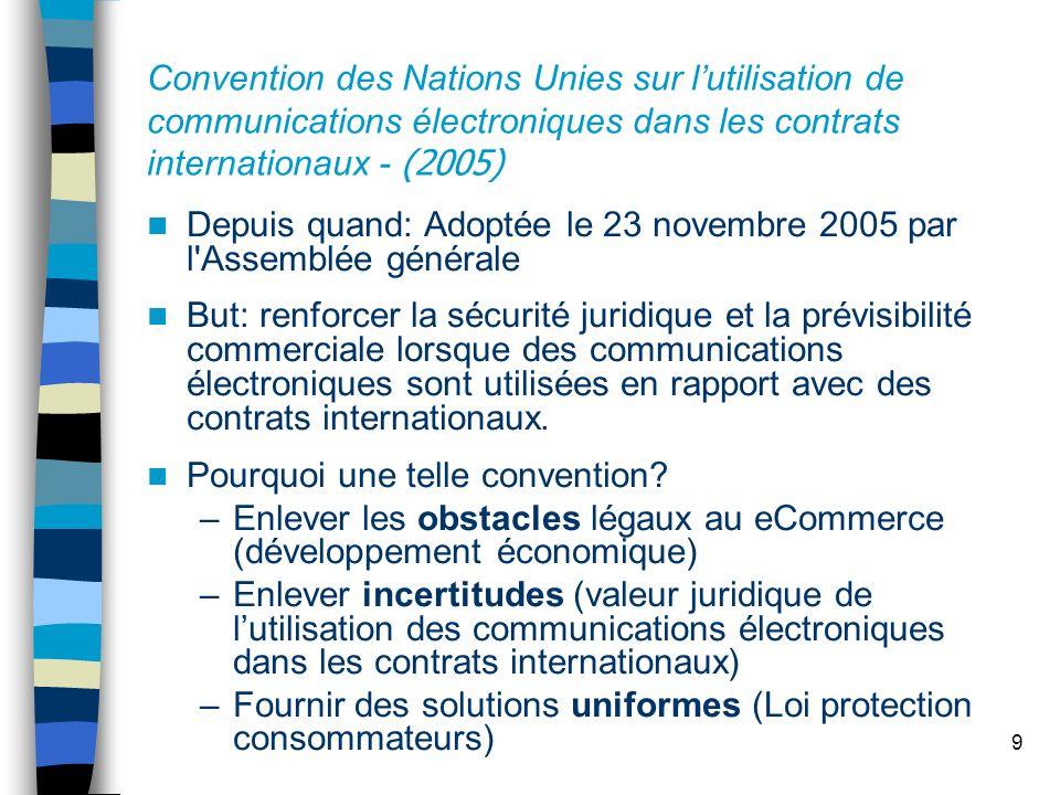9 Convention des Nations Unies sur lutilisation de communications électroniques dans les contrats internationaux - (2005) Depuis quand: Adoptée le 23
