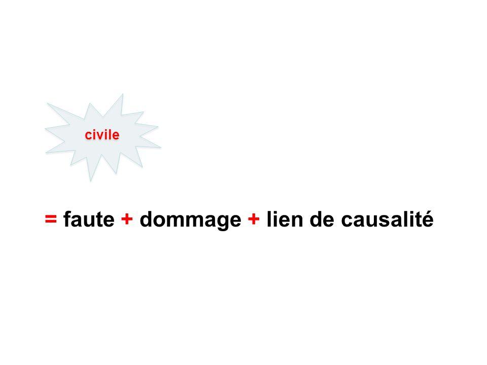 = faute + dommage + lien de causalité civile