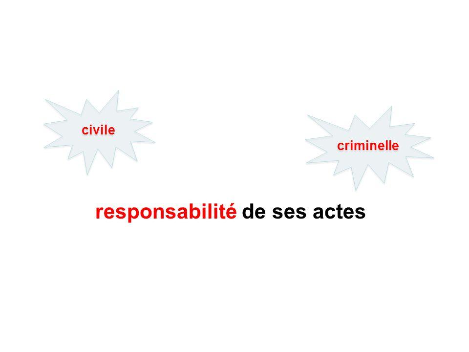 responsabilité de ses actes civile criminelle