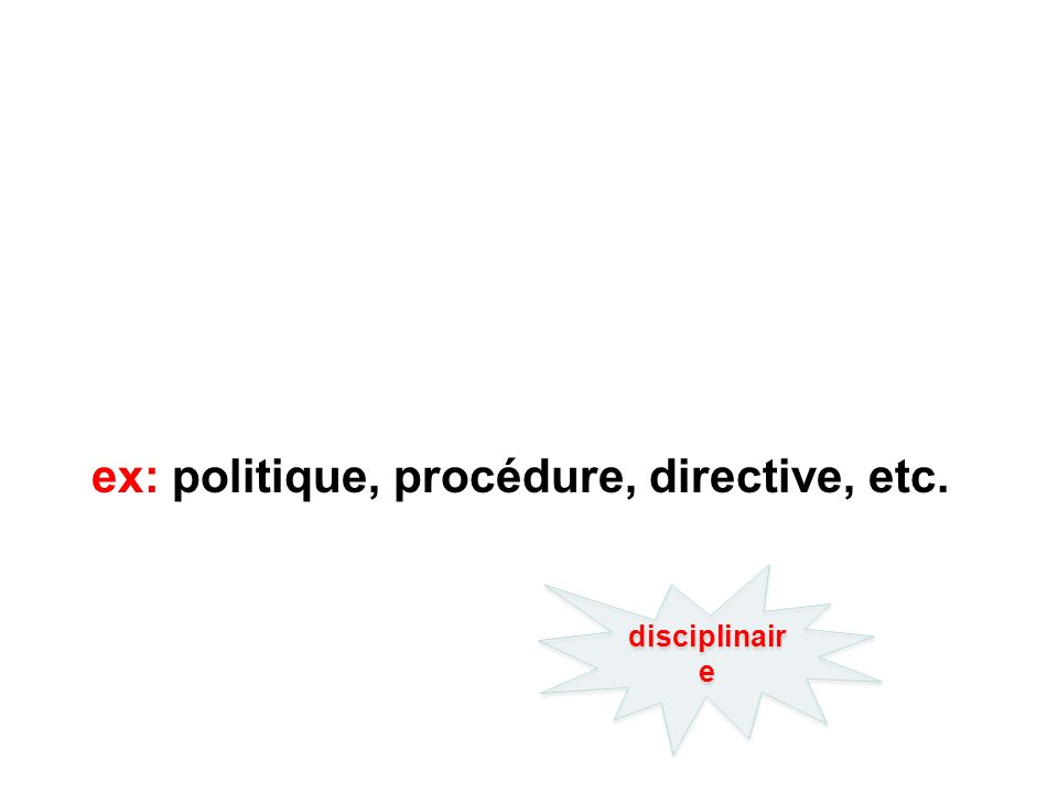 ex: politique, procédure, directive, etc. disciplinair e