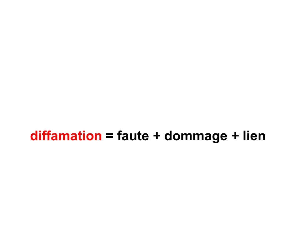 diffamation = faute + dommage + lien