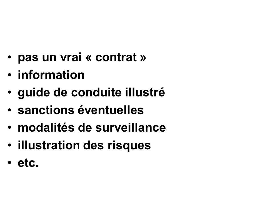 pas un vrai « contrat » information guide de conduite illustré sanctions éventuelles modalités de surveillance illustration des risques etc.