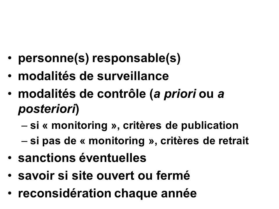 personne(s) responsable(s) modalités de surveillance modalités de contrôle (a priori ou a posteriori) –si « monitoring », critères de publication –si pas de « monitoring », critères de retrait sanctions éventuelles savoir si site ouvert ou fermé reconsidération chaque année