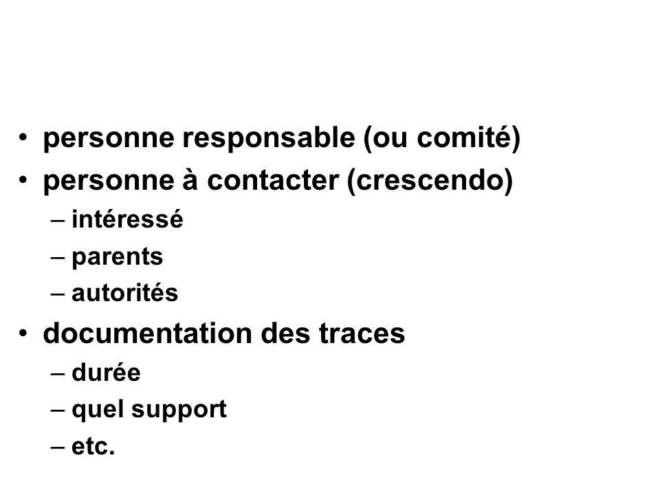 personne responsable (ou comité) personne à contacter (crescendo) –intéressé –parents –autorités documentation des traces –durée –quel support –etc.