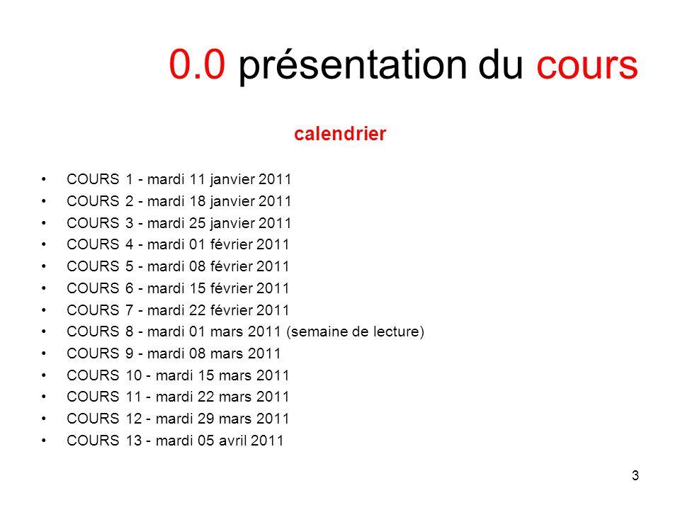 3 0.0 présentation du cours calendrier COURS 1 - mardi 11 janvier 2011 COURS 2 - mardi 18 janvier 2011 COURS 3 - mardi 25 janvier 2011 COURS 4 - mardi