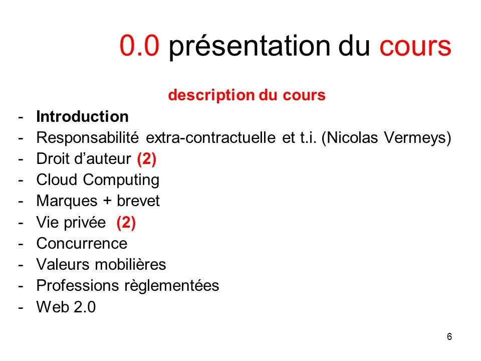 6 0.0 présentation du cours description du cours -Introduction -Responsabilité extra-contractuelle et t.i. (Nicolas Vermeys) -Droit dauteur (2) -Cloud