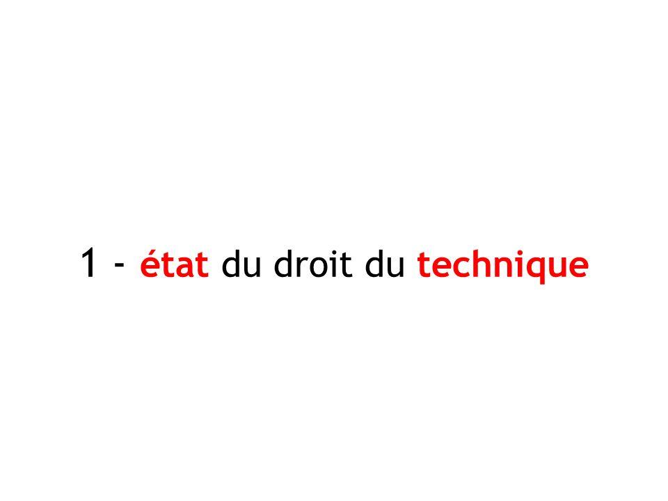 1 - état du droit du technique