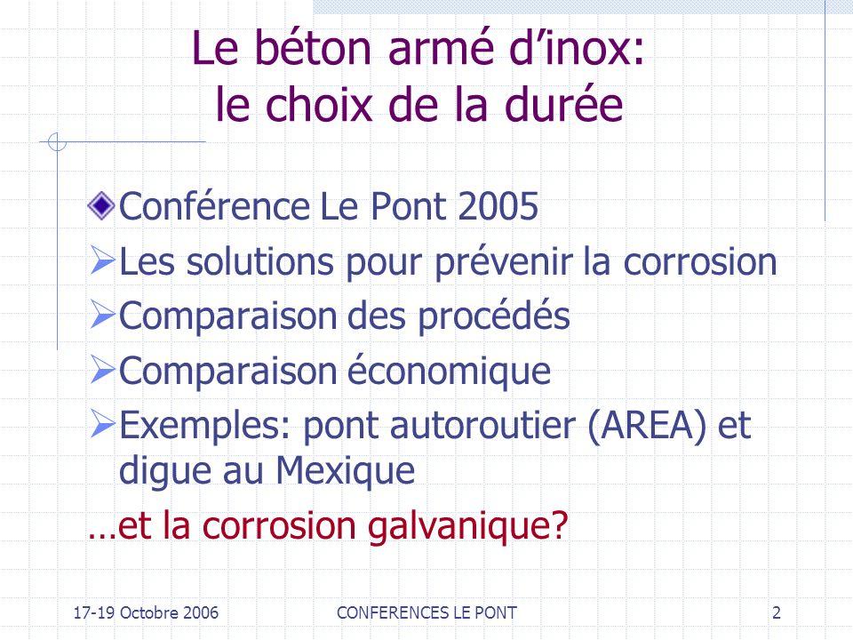 17-19 Octobre 2006CONFERENCES LE PONT2 Le béton armé dinox: le choix de la durée Conférence Le Pont 2005 Les solutions pour prévenir la corrosion Comp