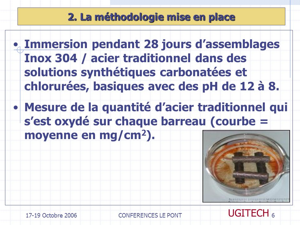 17-19 Octobre 2006CONFERENCES LE PONT6 UGITECH 2. La méthodologie mise en place Immersion pendant 28 jours dassemblages Inox 304 / acier traditionnel