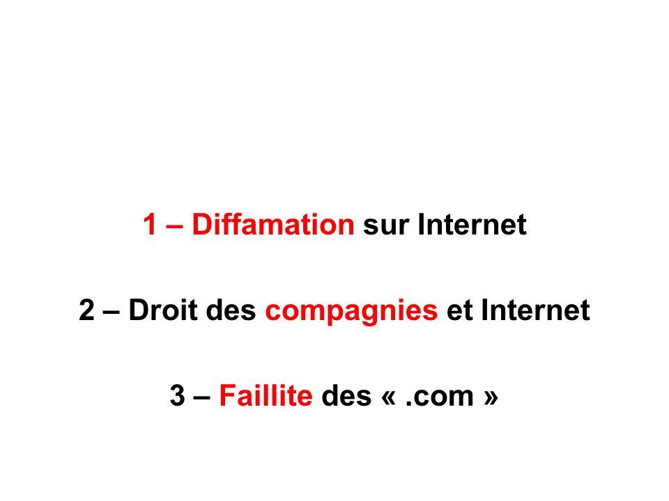 1 – Diffamation sur Internet 2 – Droit des compagnies et Internet 3 – Faillite des «.com »